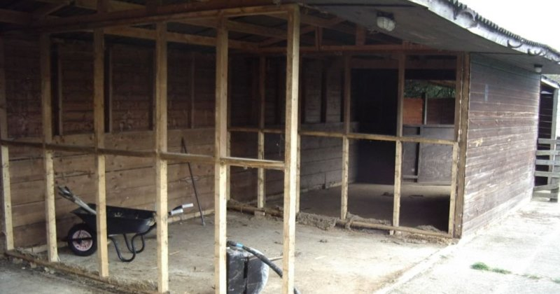 This shows the removal of the stable interior before we could begin building (Oh yes and included some very big spiders!)
